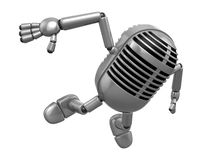 3D Classic Microphone Mascot to be powerful and jumping. 3D Clas Royalty Free Stock Photography