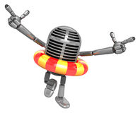 3D Classic Microphone Mascot To point the finger at you with bot Stock Photography