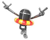 3D Classic Microphone Mascot To point the finger at you with bot Royalty Free Stock Photos