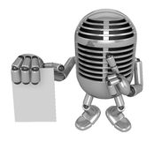 3D Classic Microphone to right hand hush gestures and left hand Royalty Free Stock Photography