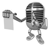 3D Classic Microphone to right hand hush gestures and left hand Stock Image