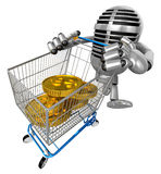 3D Classic Mike is pushing a trolley with both hands all the gol Royalty Free Stock Photo