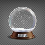 3d Classic Snow Globe Vector.Glass Sphere With Glares And Gighlights. Isolated On Transparent Background Illustration Stock Photography