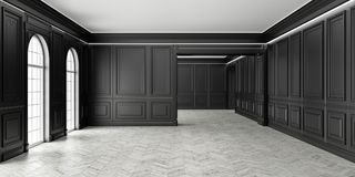 3D Classic style empty black room with parquet and classic wall pannels, big window and home interior illumination. Royalty Free Stock Images