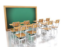 3d classroom with chairs and chalkboard. Royalty Free Stock Photography