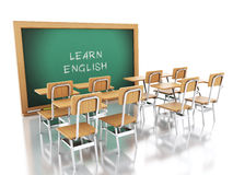 3d classroom with chairs and chalkboard. Royalty Free Stock Photos