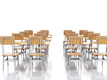 3d classroom with school chairs. Education concept. Stock Photo