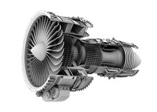 3D clay cutaway render of turbofan jet engine isolated on white background Royalty Free Stock Photography