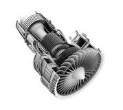3D clay cutaway render of turbofan jet engine isolated on white background Stock Images