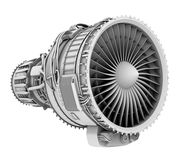 3D clay render of turbofan jet engine isolated on white background Royalty Free Stock Photography