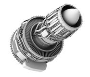 3D clay render of turbofan jet engine isolated on white background Royalty Free Stock Photos