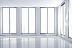 3d interior room with big windows. 3d clean interior room with big windows Royalty Free Stock Photo