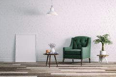 3d clean interior room with green chair and white wall Royalty Free Stock Image
