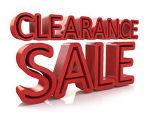 3D Clearance Sale text on white background Royalty Free Stock Photography