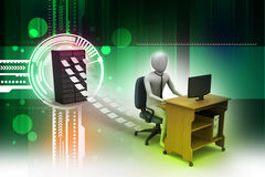 3d clerk working in the office. In attractive color background Stock Image