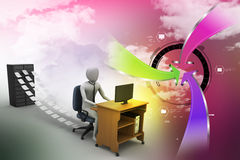 3d clerk working in the office. In attractive color background Royalty Free Stock Images