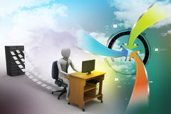 3d clerk working in the office. In attractive color background Royalty Free Stock Photos