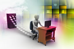 3d clerk working in the office Royalty Free Stock Photos