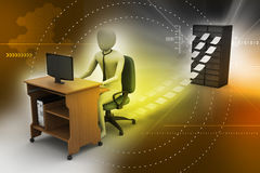 3d clerk working in the office. In color background Royalty Free Stock Photography