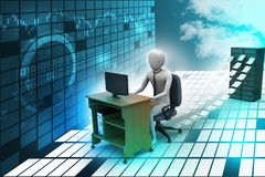 3d clerk working in the office. In color background Royalty Free Stock Photos