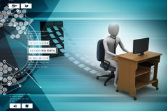 3d clerk working in the office Stock Photo