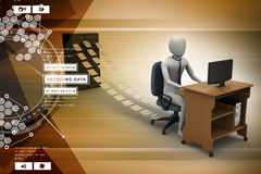 3d clerk working in the office Stock Photography
