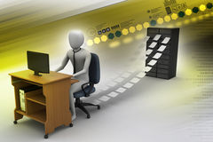 3d clerk working in the office. In color background Royalty Free Stock Images