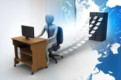 3d clerk working in the office. In color background Stock Photos