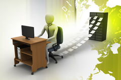3d clerk working in the office. In color background Royalty Free Stock Image