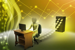 3d clerk working in the office. In color background Stock Image
