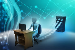 3d clerk working in the office. In color background Stock Photo