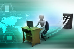 3d clerk working in the office. In color background Stock Images
