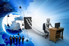 3d clerk working in the office. In color background Stock Photography