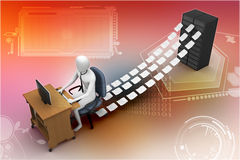 3d clerk working in the office Royalty Free Stock Images