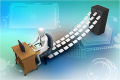 3d clerk working in the office. In colour background Royalty Free Stock Photos