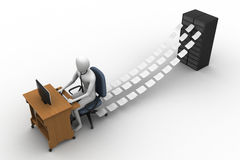 3d clerk working in the office. In white background Stock Photo