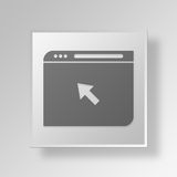 3D Click Web Browser icon Business Concept. 3D Symbol Gray Square Click Web Browser icon Business Concept Royalty Free Stock Images