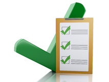 3d Clipboard checklist and green checkmark. Success concept. Royalty Free Stock Image