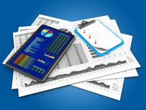 3d clipboard. 3d illustration of business charts and tablet over blue background with clipboard Stock Image