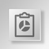 3D clipboard pie chart icon Business Concept. 3D Symbol Gray Square clipboard pie chart icon Business Concept Royalty Free Stock Image