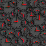 3D clock abstract time concept dark background, minute and hour red arrows Stock Photos