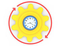 3d clock gear and arrows Royalty Free Stock Photo
