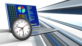 3d clock. 3d illustration of computer over abstract lines background with clock Vector Illustration