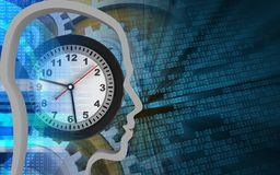 3d clock. 3d illustration of clock over binary background with gears Stock Images