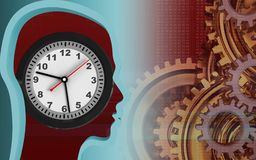 3d clock. 3d illustration of clock over red background with gears system Stock Images