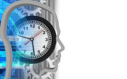 3d clock. 3d illustration of clock over white background with gears Stock Illustration