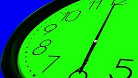 3D Clock Time Ticking Fast. 3D Clock Ticking Fast Time GREEN AND BLUE KEY CHROME, Super sharp 3D render of a wall clock ticking. Clock is ticking faster than one stock illustration