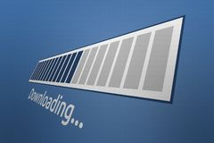 3D Close-up Downloading Progress bar with Downloading Wording. Downloading progress bar with downloading text on a blue background Royalty Free Stock Photo