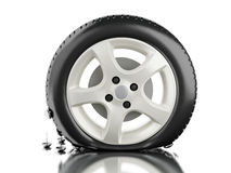 3d Close up of flat tire. 3d illustration. Close up of flat tire. Tire service concept. white background vector illustration