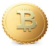 3d close-up of golden Bitcoin coin, decentralized crypto-currency Royalty Free Stock Photo